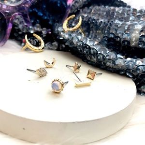 Jewelry - Gold Celestial Mixed Stud Earring Set